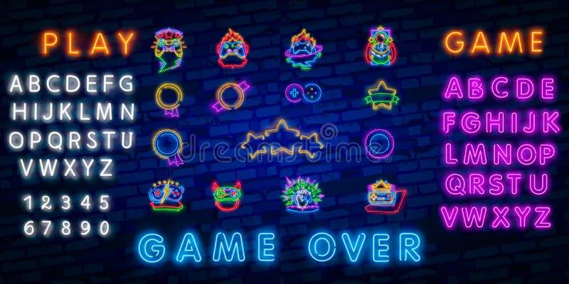 Néon ajustado grande para cantar Etiqueta e logotipo da sala de jogo Bandeira, logotipo, emblema e etiqueta do Gamer Quadro indic ilustração royalty free