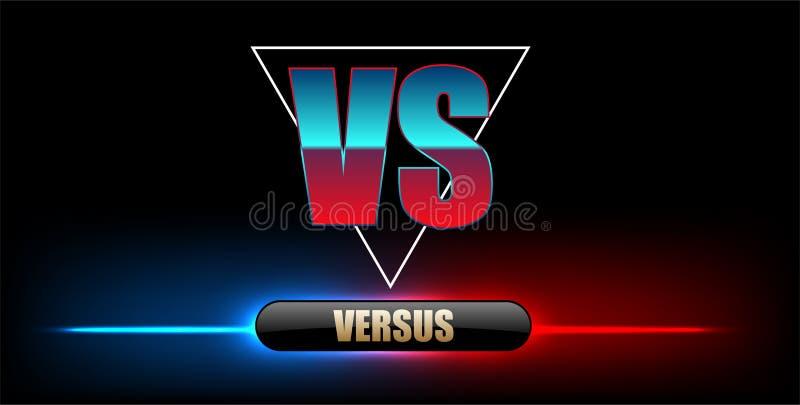 Néon azul contra o logotipo contra letras para esportes e competição da luta Lute contra o fósforo, conceito do jogo competitivo  ilustração stock