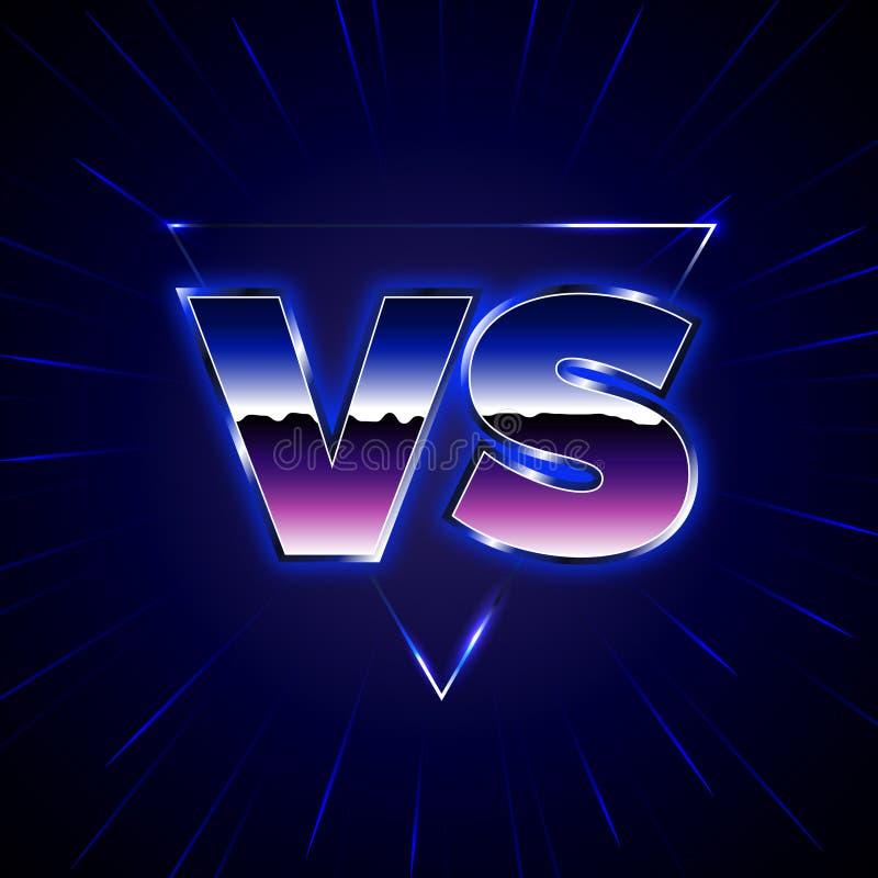 Néon bleu contre l'emblème CONTRE le vecteur marque avec des lettres l'illustration illustration de vecteur