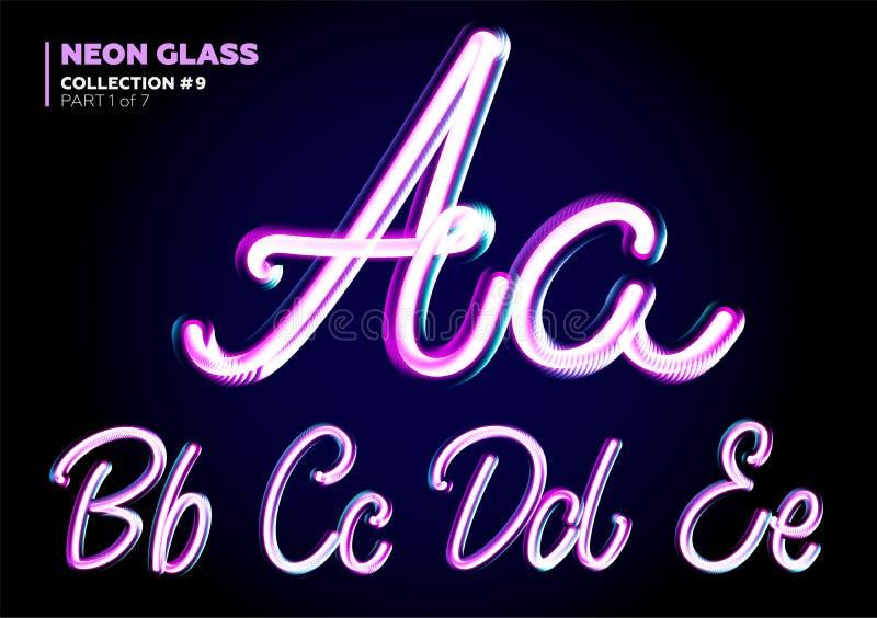 Néon 3D de incandescência Typeset Grupo da fonte das letras de vidro ilustração stock