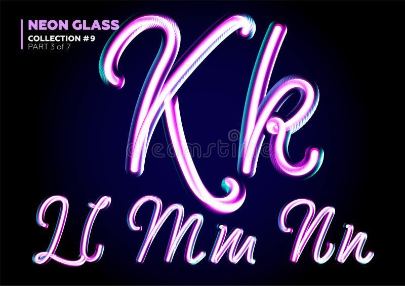 Néon 3D de incandescência Typeset Grupo da fonte das letras de vidro Rosa lustroso ilustração do vetor