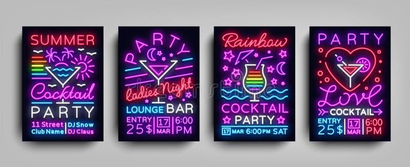 Néon de cocktail d'affiches de collection Conception de calibre d'insecte dans le style au néon Placez l'invitation de cocktail d illustration de vecteur