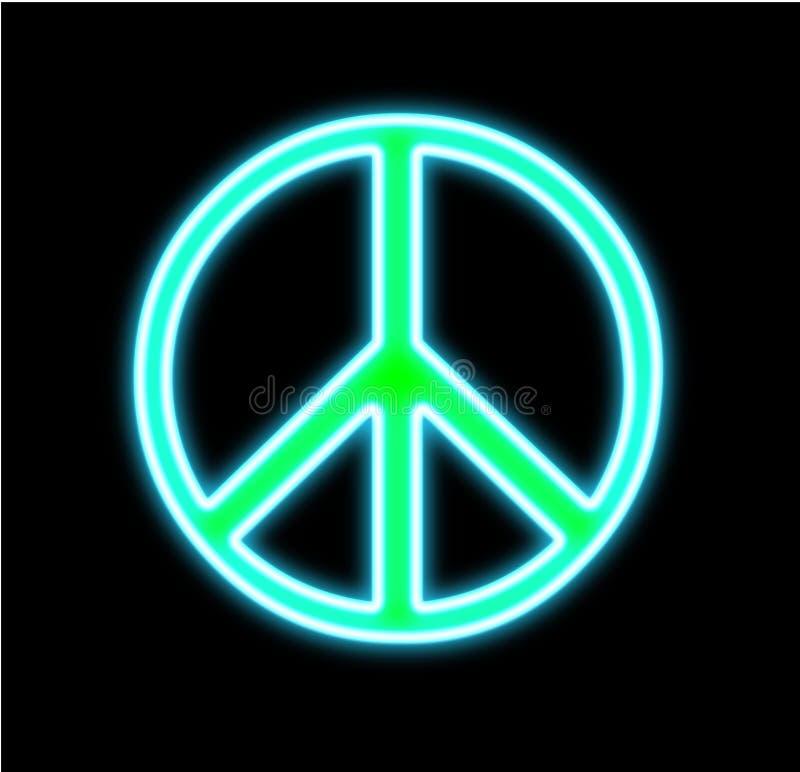 Néon de signe de paix sur le noir illustration de vecteur