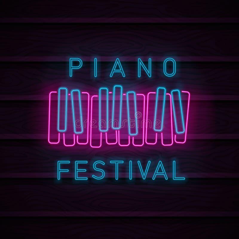 Néon de symbole de piano illustration libre de droits