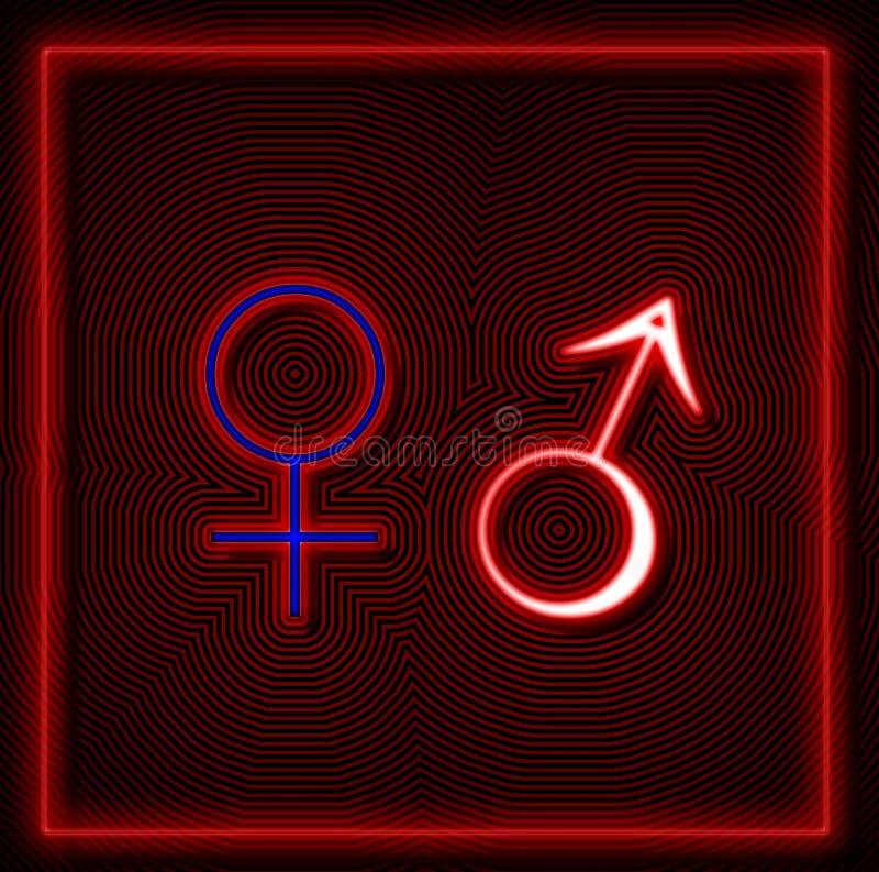 Néon femelle et masculin de signe illustration de vecteur