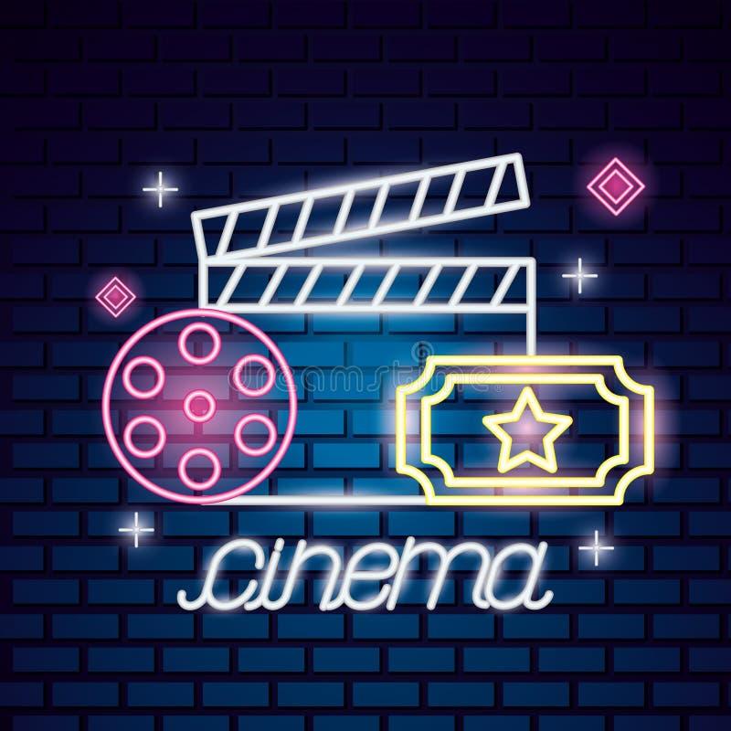 Néon heure de projection du film illustration de vecteur