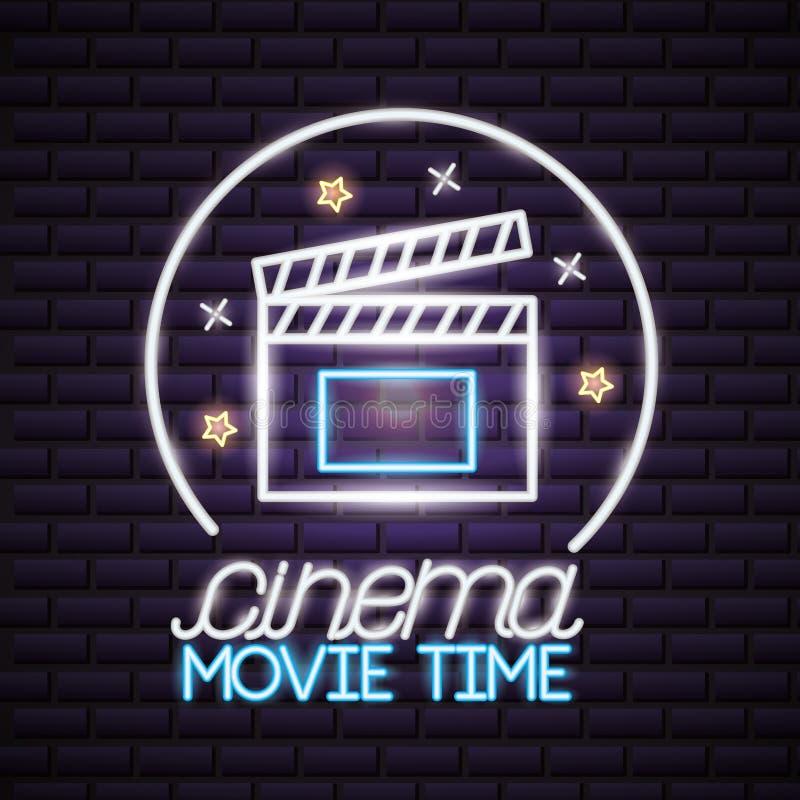 Néon heure de projection du film illustration stock