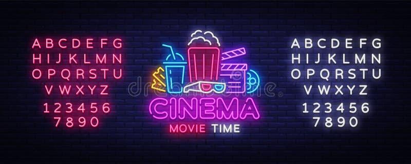 Néon Logo Vector heure de projection du film Enseigne au néon de nuit de cinéma, calibre de conception, conception moderne de ten illustration de vecteur