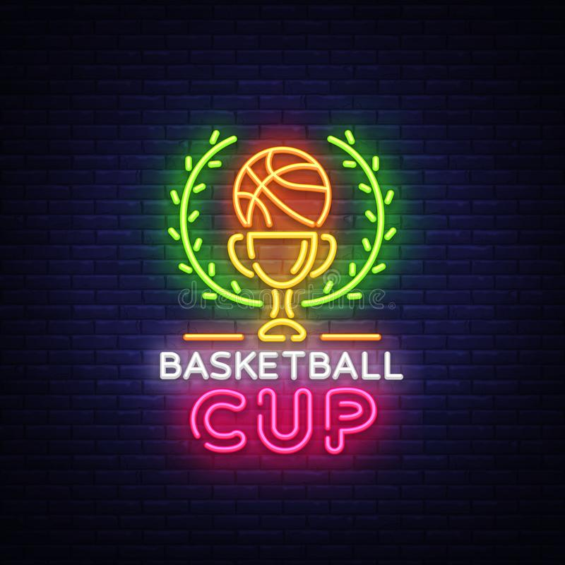 Néon Logo Vetora da noite de Tourament do basquetebol O sinal de néon do copo do basquetebol, molde do projeto, projeto moderno d ilustração stock