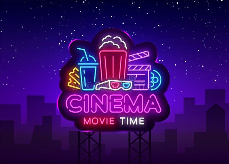 Néon Logo Vetora do tempo de filme Sinal de néon da noite do cinema, molde do projeto, projeto moderno da tendência, quadro indic ilustração stock