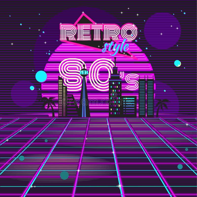 Néon retro do projeto do disco do estilo 80s ilustração do vetor