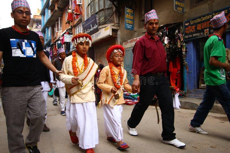 Népalais célébrant le festival de Nawami de mémoire vive images libres de droits