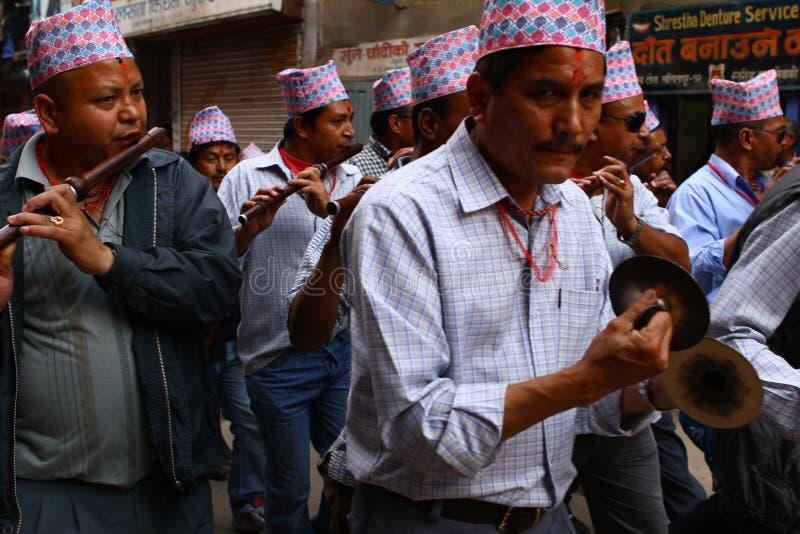 Népalais célébrant le festival de Nawami de mémoire vive image libre de droits