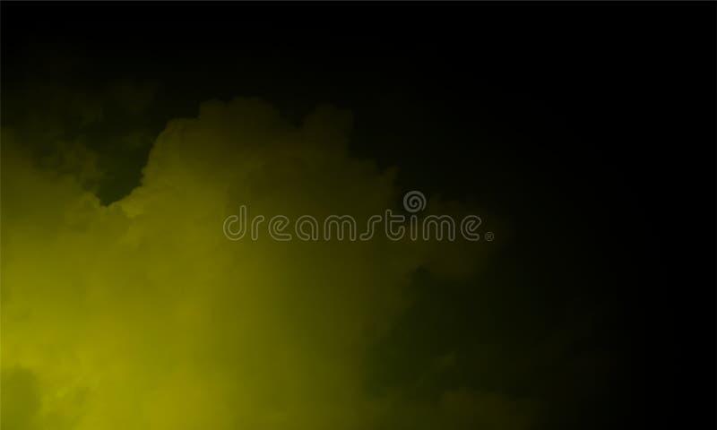 Névoa amarela ou para fumar o efeito especial transparente Fundo branco da opacidade, da n?voa ou da polui??o atmosf?rica Ilustra imagem de stock royalty free