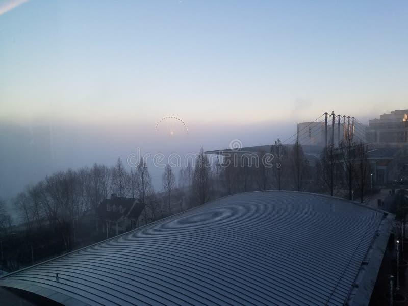 Névoa da manhã do inverno fotografia de stock