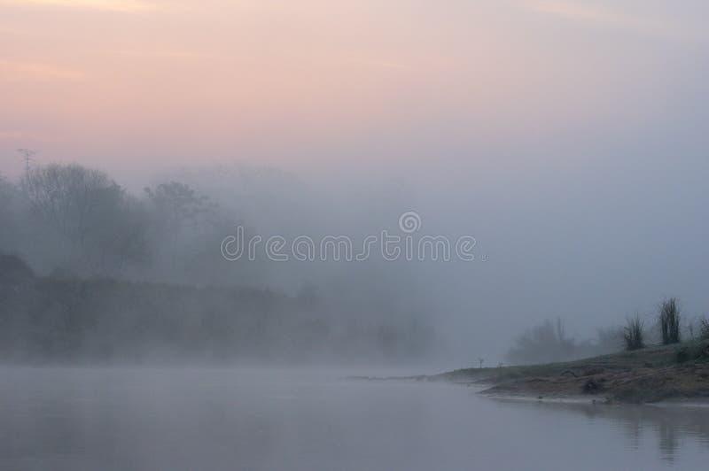 Névoa da manhã no nascer do sol sobre o rio fotos de stock