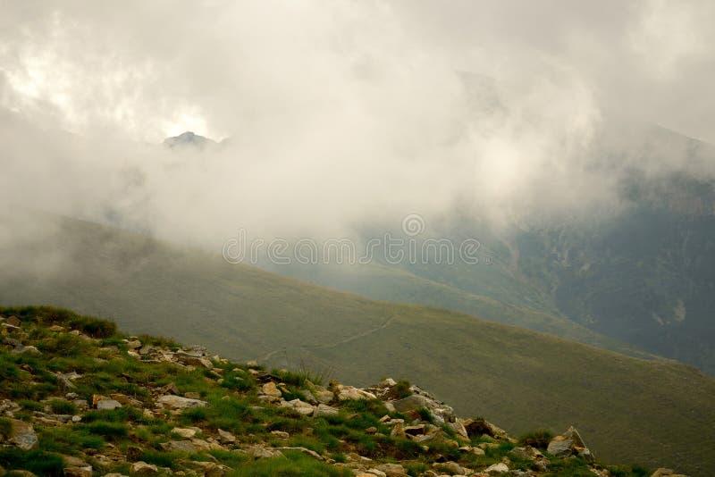Névoa da montanha da manhã fotografia de stock royalty free
