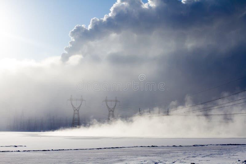 Névoa do inverno em Sibéria imagens de stock
