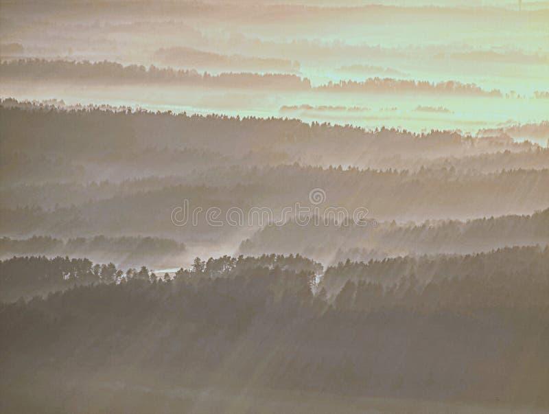 Névoa dourada acima dos montes arredondados na paisagem Esboço da paisagem real fotos de stock