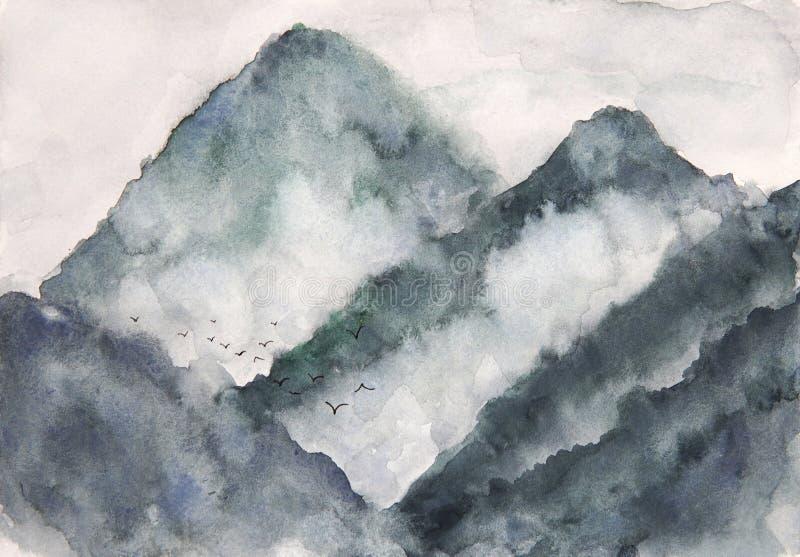Névoa e pássaros da montanha da paisagem da aquarela estilo da arte de Ásia ilustração stock