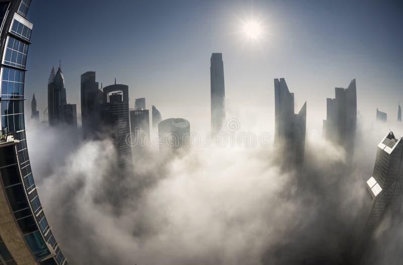 Névoa em Dubai fotografia de stock