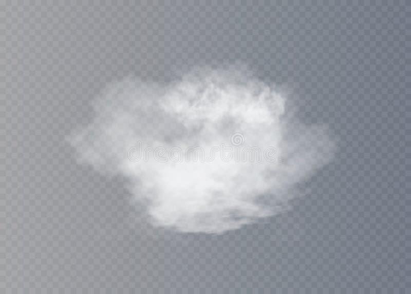 Névoa ou efeito especial transparente isolado fumo Fundo branco da opacidade, da névoa ou da poluição atmosférica ilustração stock