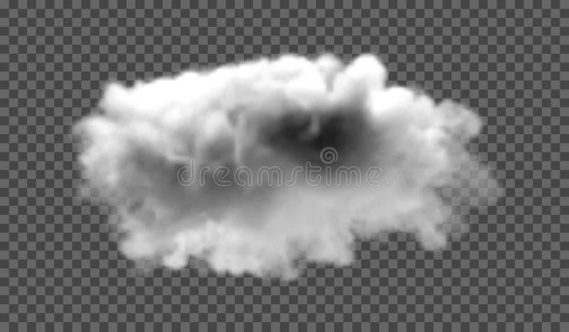 Névoa ou efeito especial transparente isolado fumo Fundo branco da opacidade, da névoa ou da poluição atmosférica Ilustração do v ilustração stock