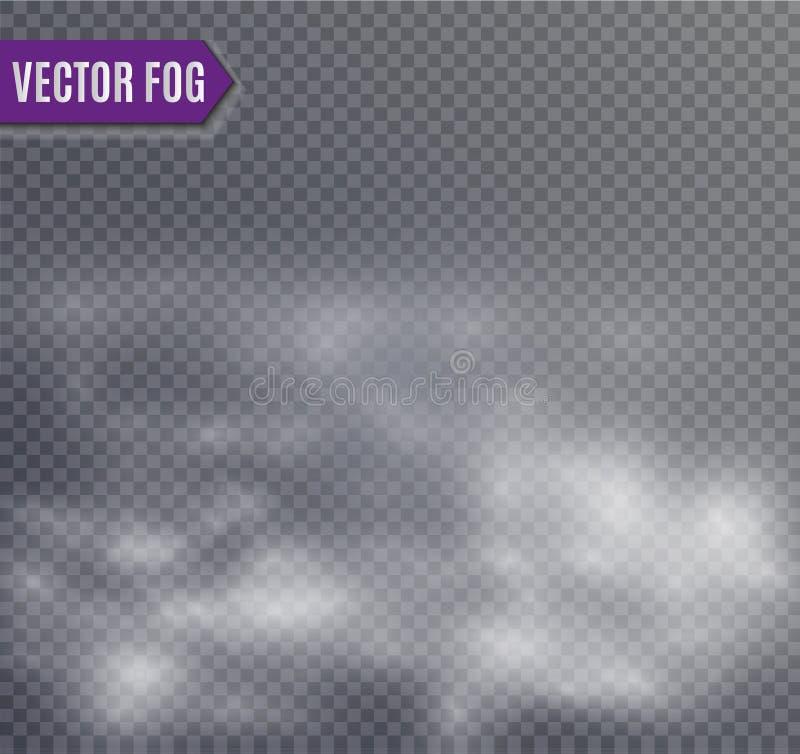 Névoa ou efeito especial transparente isolado fumo Fundo branco da opacidade, da névoa ou da poluição atmosférica Ilustração do v ilustração do vetor