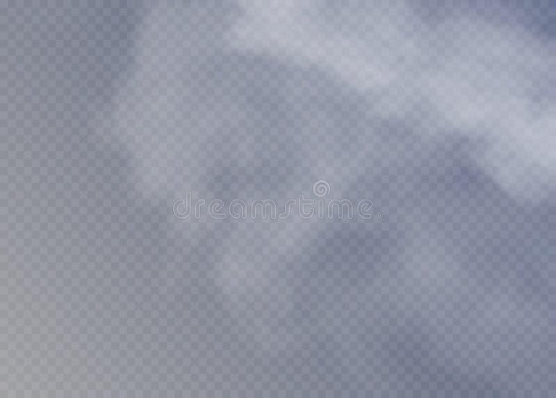 Névoa ou efeito especial transparente isolado fumo Opacidade branca do vetor, névoa ou fundo da poluição atmosférica ilustração do vetor
