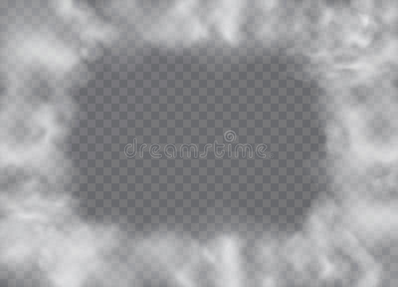 Névoa ou efeito especial transparente isolado fumo Opacidade branca do vetor, névoa ou fundo da poluição atmosférica ilustração royalty free