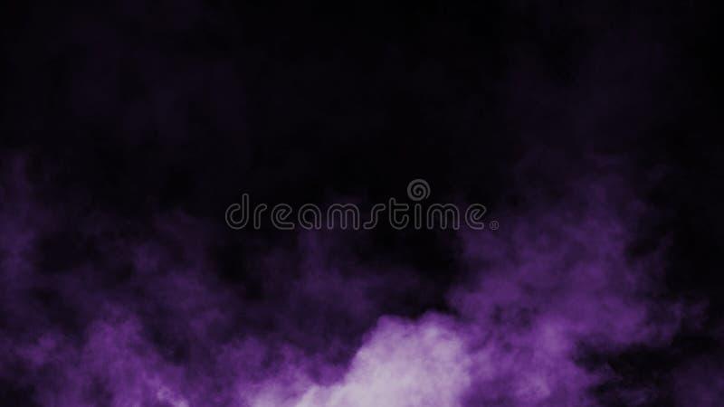 Névoa roxa abstrata da névoa do fumo em um fundo preto Textura Elemento do projeto ilustração royalty free