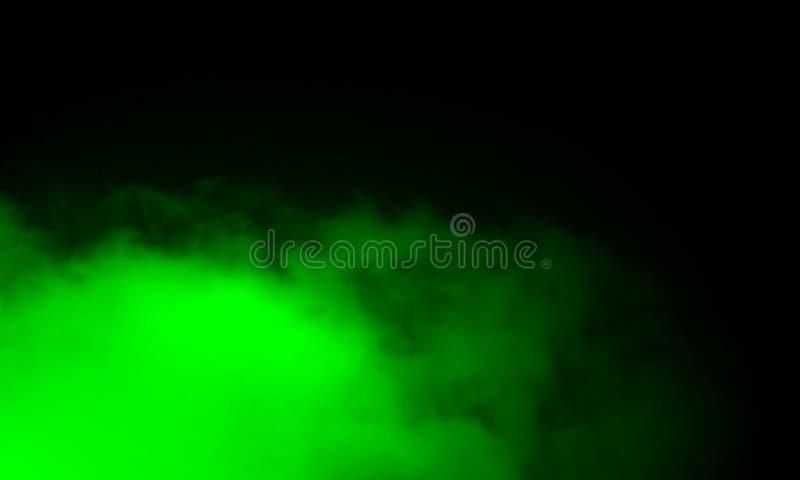Névoa verde abstrata da névoa do fumo em um fundo preto fotografia de stock royalty free