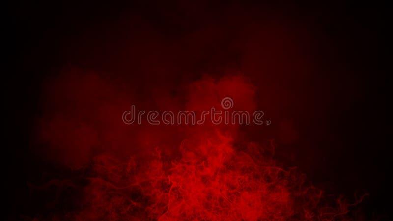 Névoa vermelha ou para fumar o efeito especial isolado no assoalho fundo vermelho da opacidade, da n?voa ou da polui??o atmosf?ri ilustração royalty free