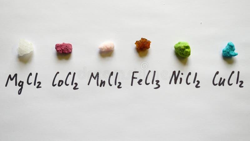 Níquel férrico del cloruro del manganeso del cloruro del cobalto del cloruro del magnesio del cloruro, cobre fotografía de archivo