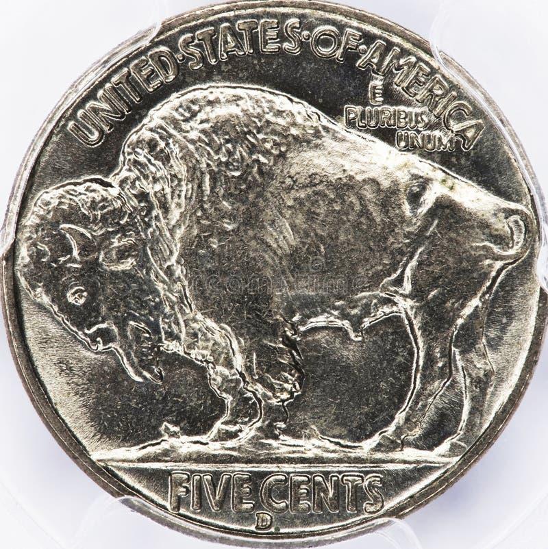 Níquel velho do búfalo imagens de stock
