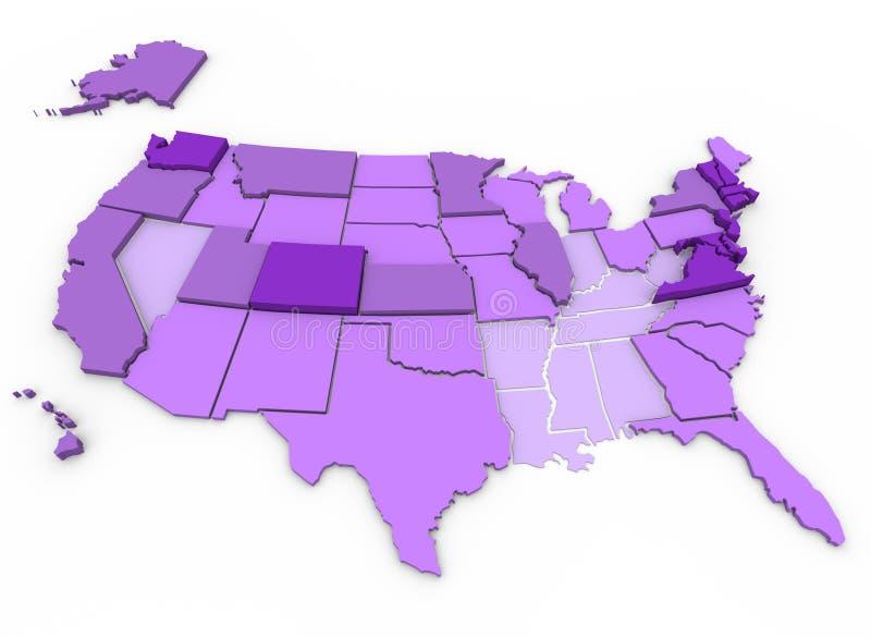 Níveis de instrução por Estado - mapa dos E.U. ilustração do vetor