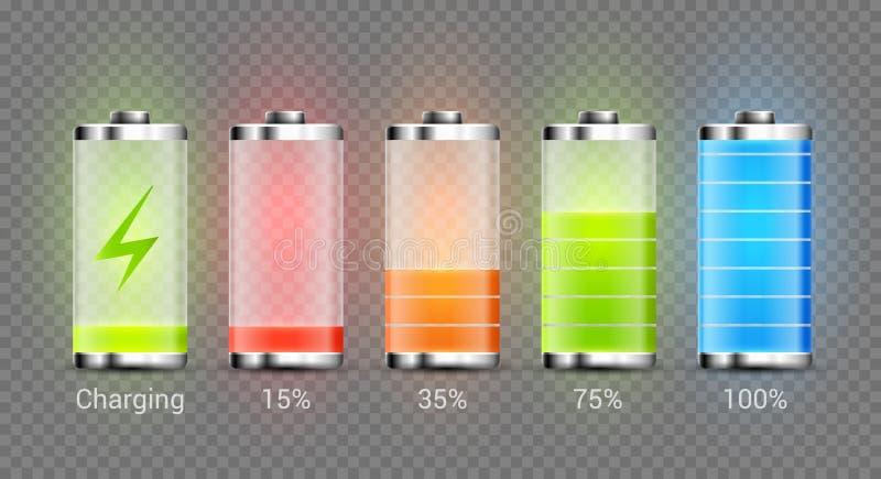Nível de energia do poder pleno da carga da bateria Recarregue o indicador da bateria Combustível mibile da baixa potência ilustração do vetor
