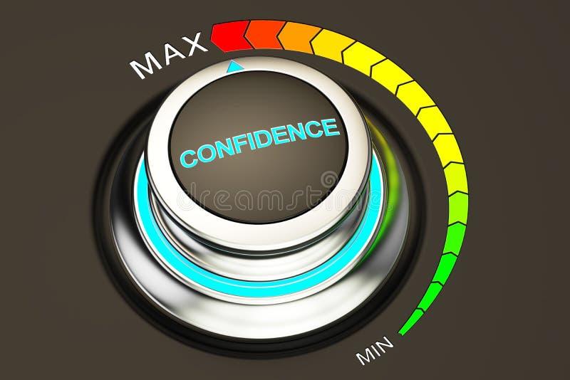 Nível elevado de conceito da confiança, botão rendição 3d ilustração royalty free