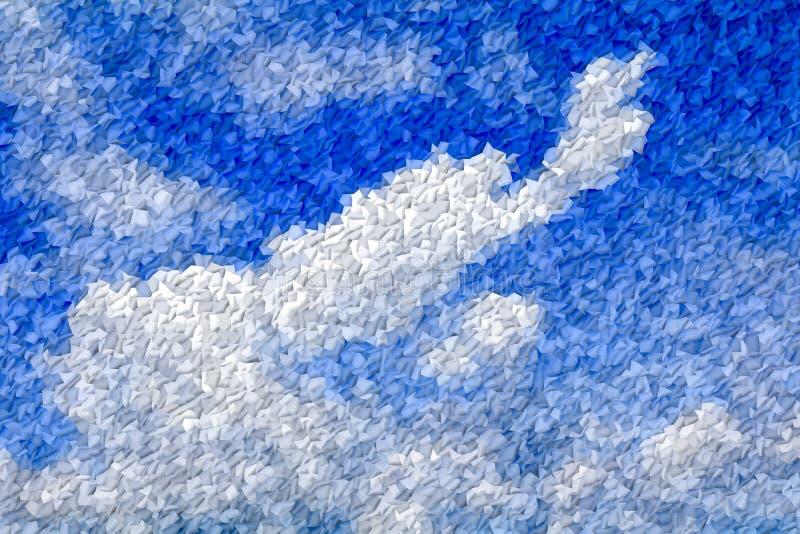 Nível profundo abstrato da cor da onda da listra do teste padrão azul e branco para o fundo ilustração do vetor