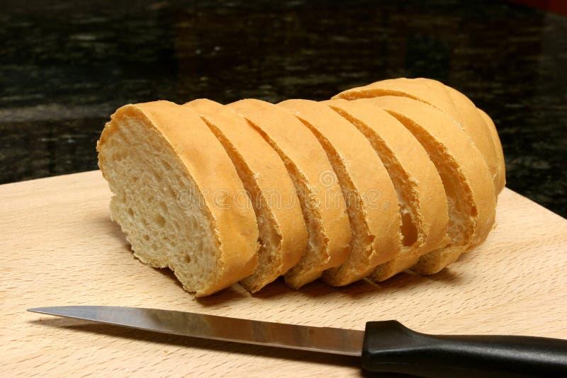 nóż plastry chleba zdjęcia royalty free