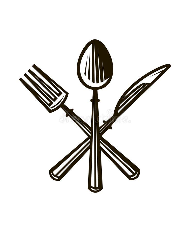 Nóż, rozwidlenie i łyżka, ilustracji