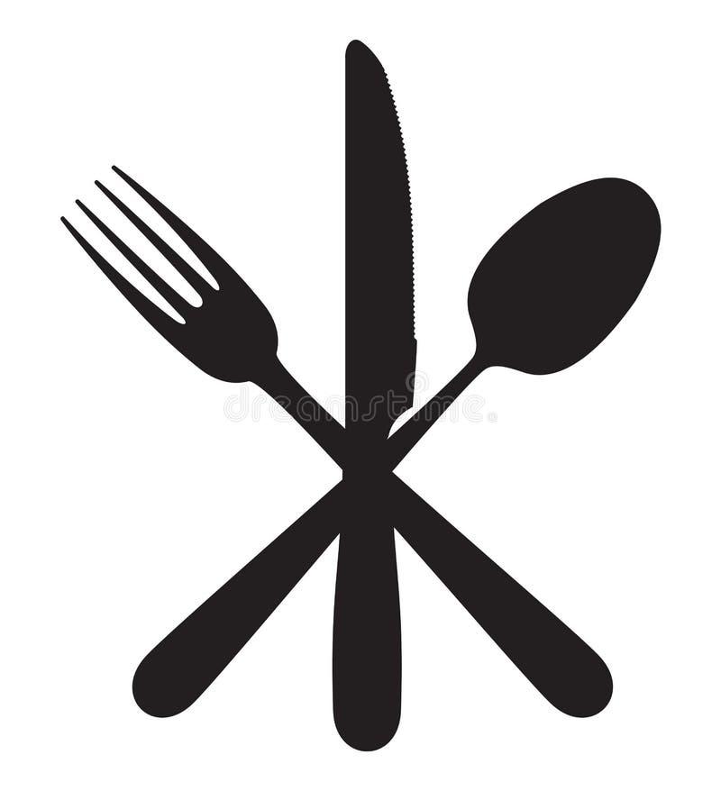 Nóż, rozwidlenie i łyżka, ilustracja wektor