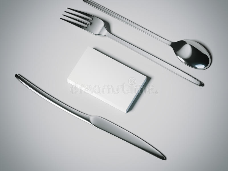 Nóż, rozwidlenie i spoone z wizytówkami, świadczenia 3 d ilustracji