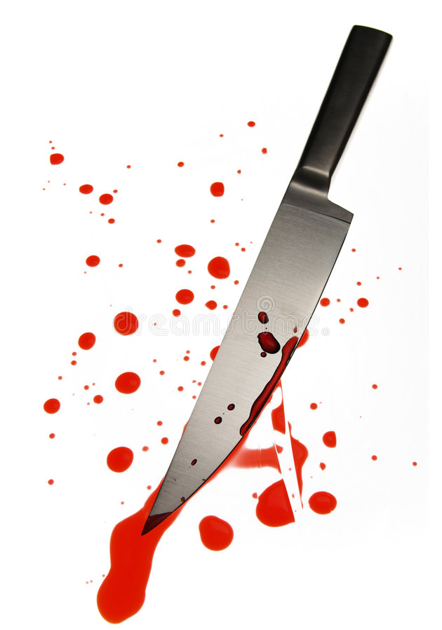 nóż spattered krew. obraz stock