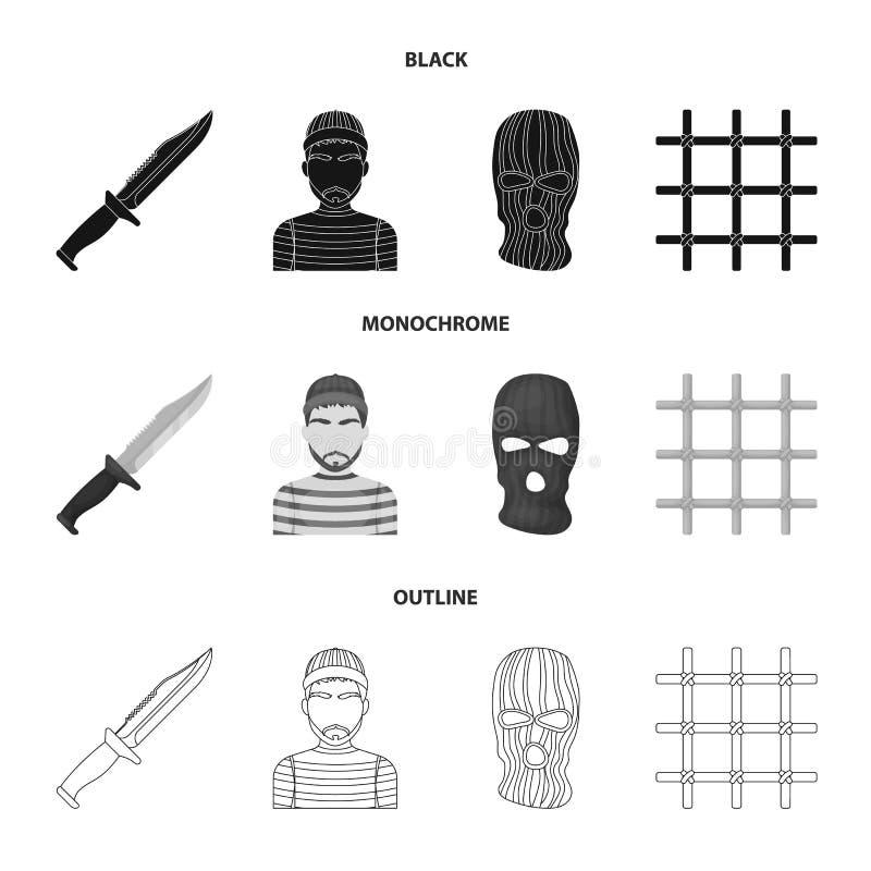 Nóż, więzień, maska na twarzy, stalowy grille Więzienie ustalone inkasowe ikony w czarnym, monochromatyczny, konturu stylowy wekt ilustracji