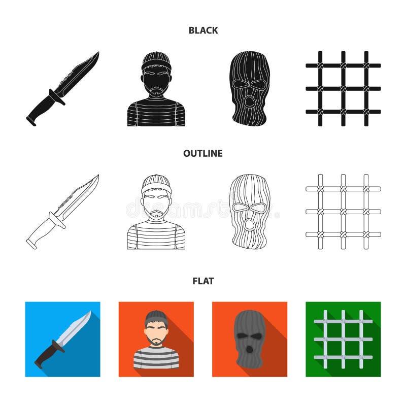 Nóż, więzień, maska na twarzy, stalowy grille Więzienie ustalone inkasowe ikony w czarnym, płaski, konturu symbolu stylowy wektor ilustracji