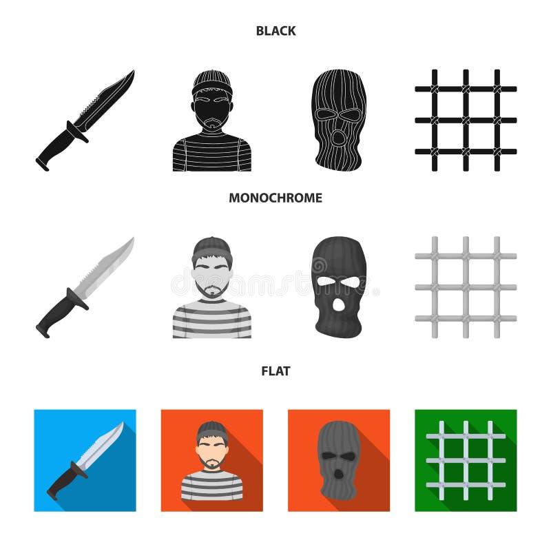 Nóż, więzień, maska na twarzy, stalowy grille Więzienie ustalone inkasowe ikony w czarnym, płaski, monochromu stylowy wektorowy s ilustracji