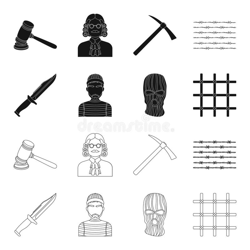 Nóż, więzień, maska na twarzy, stalowy grille Więzienie ustalone inkasowe ikony w czerni, konturu symbolu stylowy wektorowy zapas ilustracji