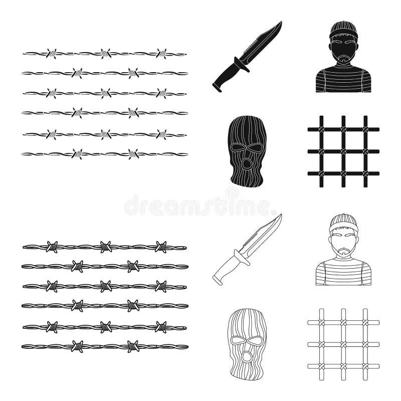 Nóż, więzień, maska na twarzy, stalowy grille Więzienie ustalone inkasowe ikony w czerni, konturu symbolu stylowy wektorowy zapas ilustracja wektor