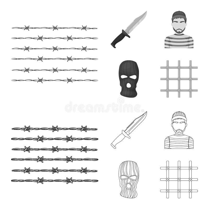 Nóż, więzień, maska na twarzy, stalowy grille Więzienie ustalone inkasowe ikony w konturze, monochromu symbolu stylowy wektorowy  ilustracji